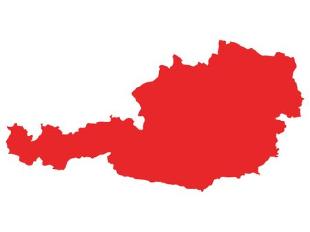 Red Flat Vector Map of Austria