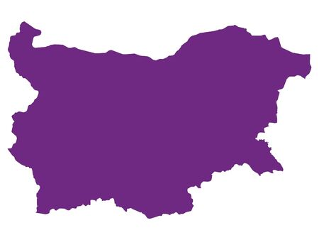 Purple Flat Vector Map of Bulgaria