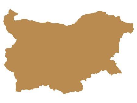 Brown Flat Vector Map of Bulgaria