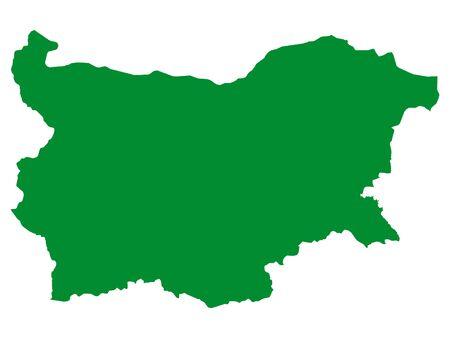 Green Flat Vector Map of Bulgaria