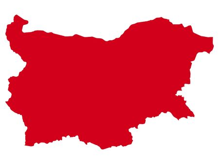 Red Flat Vector Map of Bulgaria