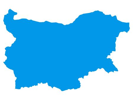 Blue Flat Vector Map of Bulgaria