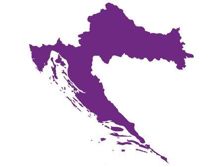 Purple Flat Vector Map of Croatia