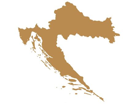 Brown Flat Vector Map of Croatia