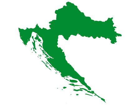 Green Flat Vector Map of Croatia