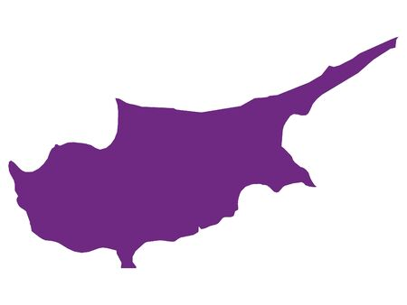 Purple Flat Vector Map of Cyprus