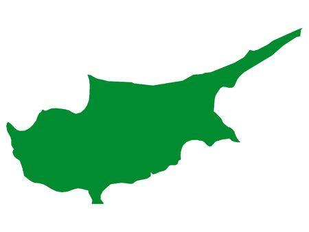 Green Flat Vector Map of Cyprus