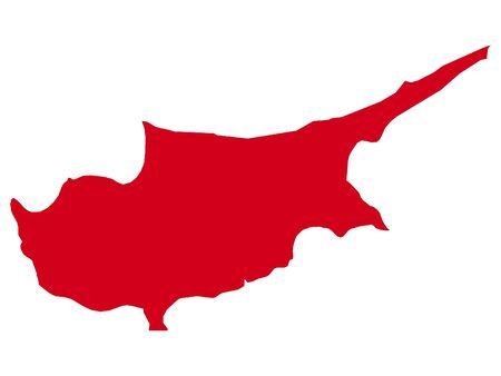 Red Flat Vector Map of Cyprus