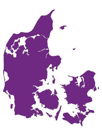 Purple Flat Vector Map of Denmark