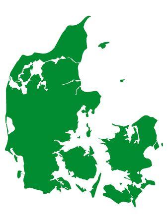 Green Flat Vector Map of Denmark Ilustrace