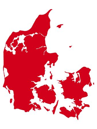 Red Flat Vector Map of Denmark Ilustrace