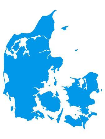 Blue Flat Vector Map of Denmark Ilustrace