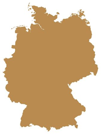Brown Flat Vector Map of Germany