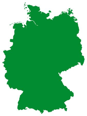 Green Flat Vector Map of Germany