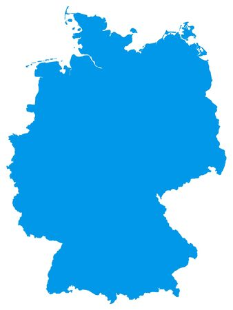 Blue Flat Vector Map of Germany