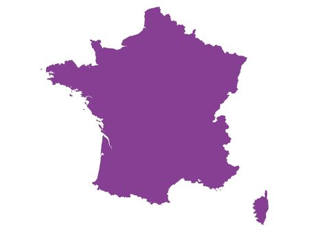 Purple Flat Vector Map of France