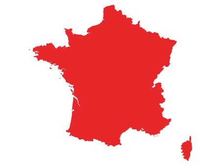 Red Flat Vector Map of France Çizim