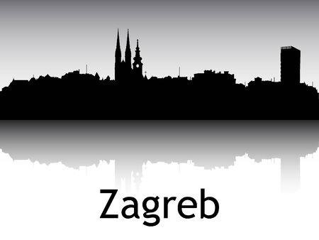 Panoramic Silhouette Skyline of the City of Zagreb, Croatia