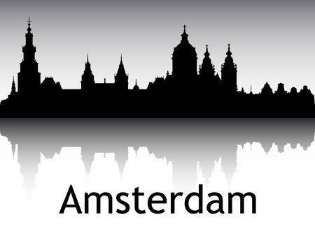 Panoramic Silhouette Skyline of the City of Amsterdam, Netherlands