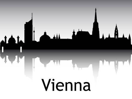Panoramic Silhouette Skyline of the City of Vienna, Austria