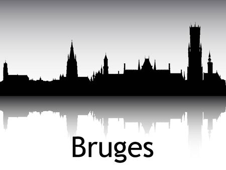 Panoramic Silhouette Skyline of the City of Bruges, Belgium