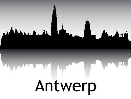 Panoramic Silhouette Skyline of the City of Antwerp, Belgium