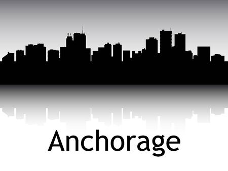 Panoramic Silhouette Skyline of the City of Anchorage, Alaska