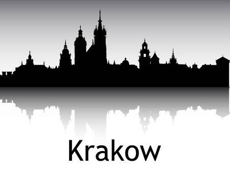 Panoramic Silhouette Skyline of the City of Krakow, Poland Illustration