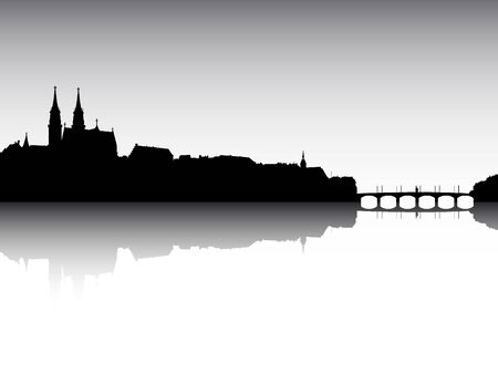 Panoramic Silhouette Skyline of the City of Basel, Switzerland Ilustração