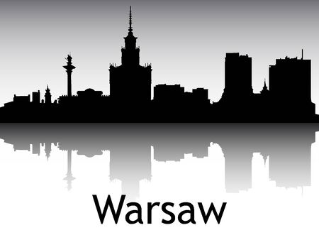 Panoramic Silhouette Skyline of the City of Warsaw, Poland Vettoriali
