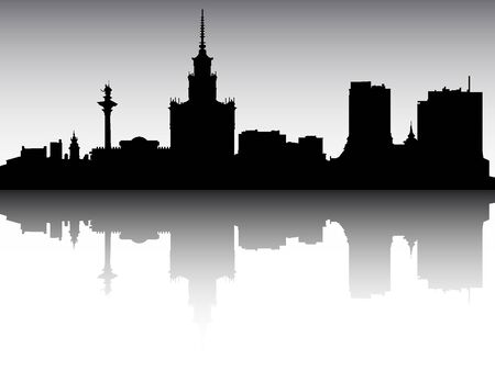 Panoramic Silhouette Skyline of the City of Warsaw, Poland