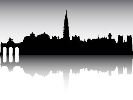 Panoramic Silhouette Skyline of the City of Brussels, Belgium