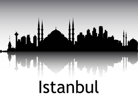Panoramic Silhouette Skyline of the City of Istanbul, Turkey