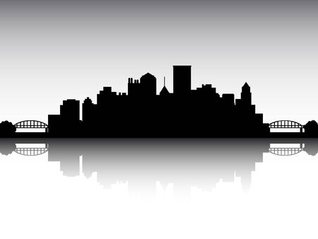 Panoramic Silhouette Skyline of the City of Pittsburgh, Pennsylvania