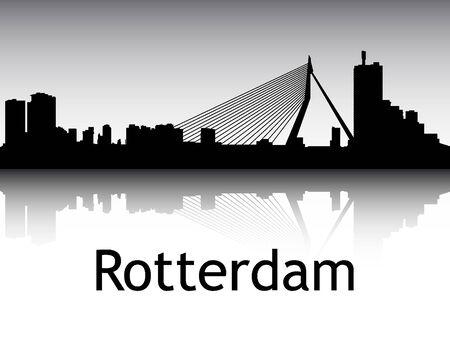 Panoramic Silhouette Skyline of the City of Rotterdam, Netherlands