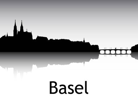 Panoramic Silhouette Skyline of the City of Basel, Switzerland Ilustração