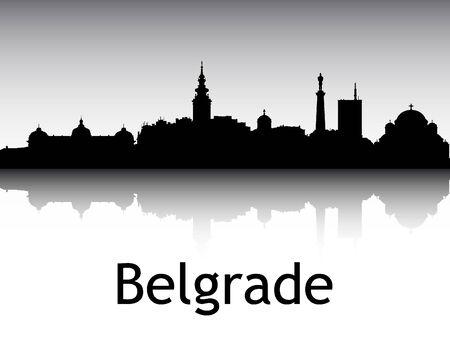 Panoramic Silhouette Skyline of the City of Belgrade, Serbia