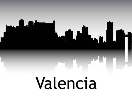 Panoramic Silhouette Skyline of the City of Valencia, Venezuela