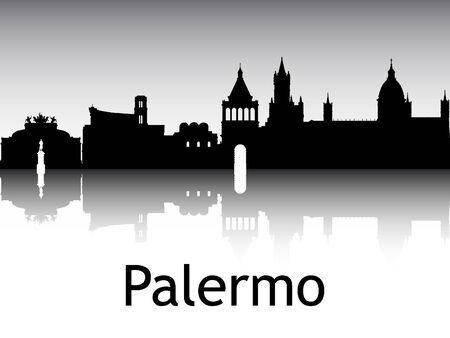 Panoramic Silhouette Skyline of the City of Palermo, Italy