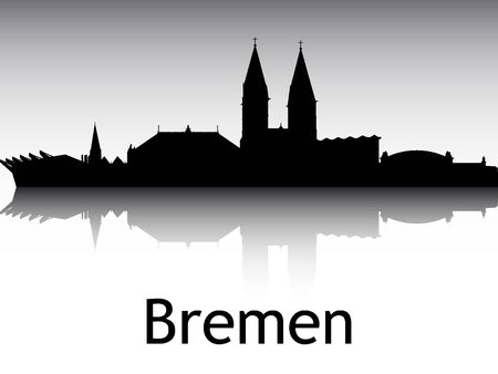 Panoramic Silhouette Skyline of the City of Bremen, Germany Illustration