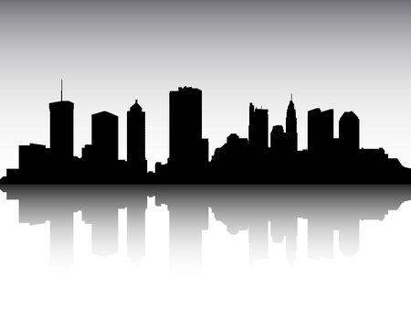 Panoramic Silhouette Skyline of the City of Columbus, Ohio