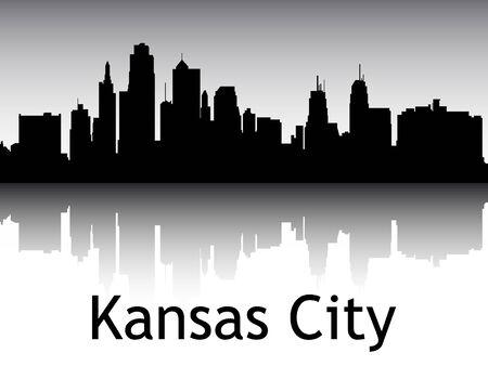 Panoramic Silhouette Skyline of the City of Kansas City, Missouri