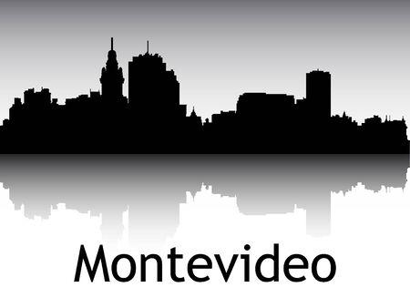 Panoramic Silhouette Skyline of the City of Montevideo, Uruguay