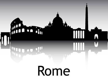 Panoramic Silhouette Skyline of the City of Rome, Italy Archivio Fotografico - 134326007