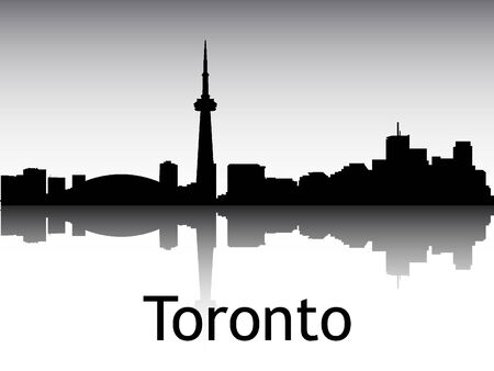 Panoramic Silhouette Skyline of the City of Toronto, Canada