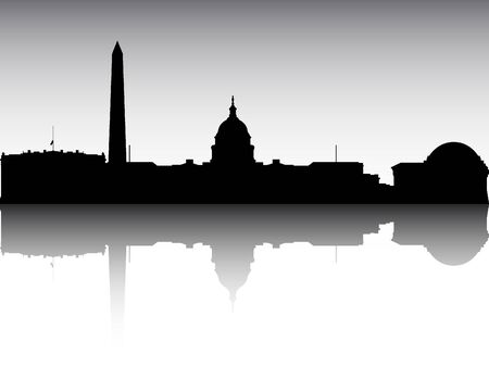 Panoramic Silhouette Skyline of the City of Washington, District of Columbia
