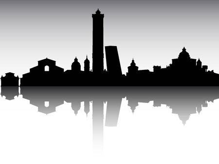 Panoramic Silhouette Skyline of the City of Bologna, Italy