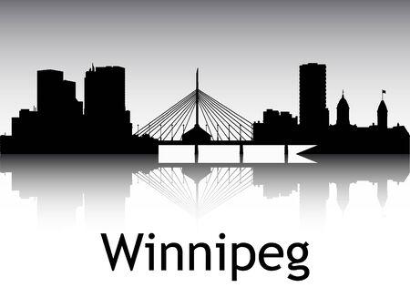 Panoramic Silhouette Skyline of the City of Winnipeg, Canada Illustration