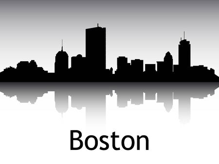 Panoramic Silhouette Skyline of the City of Boston, Massachusetts Illustration