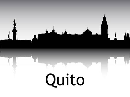 Panoramic Silhouette Skyline of the City of Quito, Ecuador